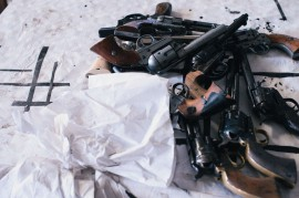 A pile of pistols used for the intense gun battle during Mein Brauttanz.//Photography by Katja Oortman